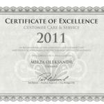 Сертификат Отличия за предоставление качественного Сервиса